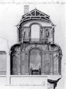 Abb. 2 - Gilles-Marie Oppenord, Entwurfszeichnung für den Ecksalon des Palais-Royal, 1719–21, New York, Department of Drawings and Prints, Cooper-Hewitt National  Design Museum, Smithsonian Institution (Nachweis: Jean-François Bédard: Political Renewal and Architectural Revival During the French Regency. Oppenord's Palais-Royal, in: Journal of the Society of Architectural Historians, 68, Nr. 1, 2009, S. 31).